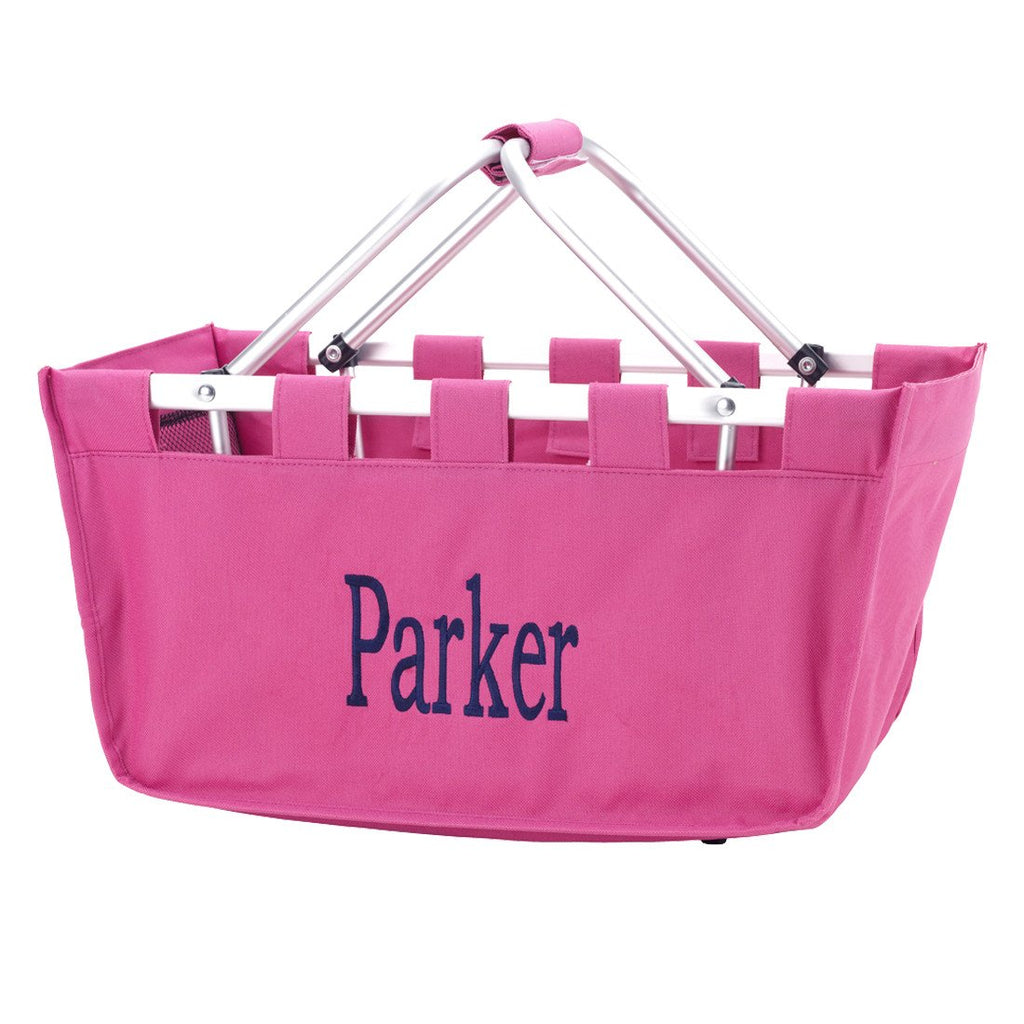 Personalized Large Market Basket - Hot Pink