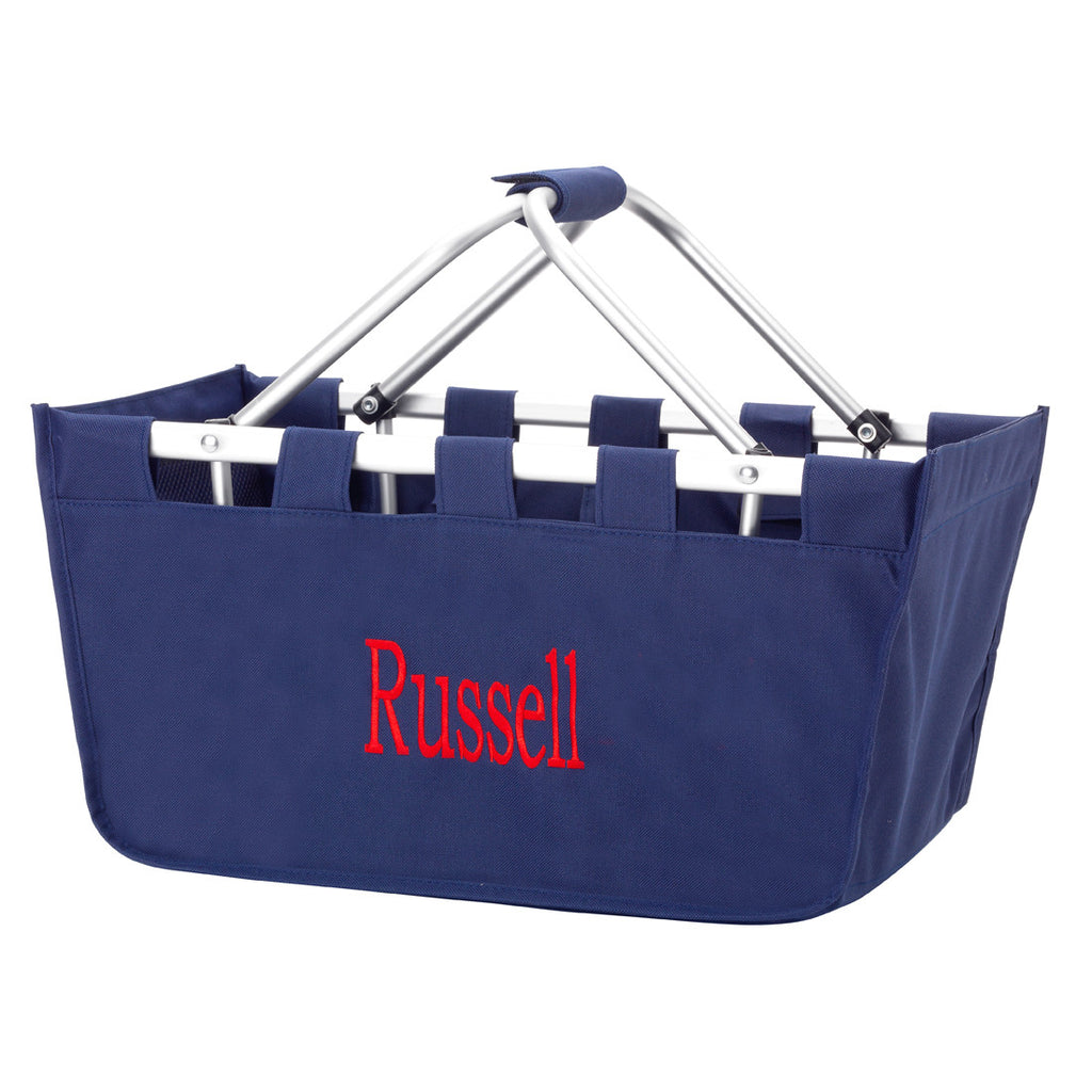 "18"" Large Market Basket Utility Tote Bag Game Day Tailgate Personalized - Gifts Happen Here"