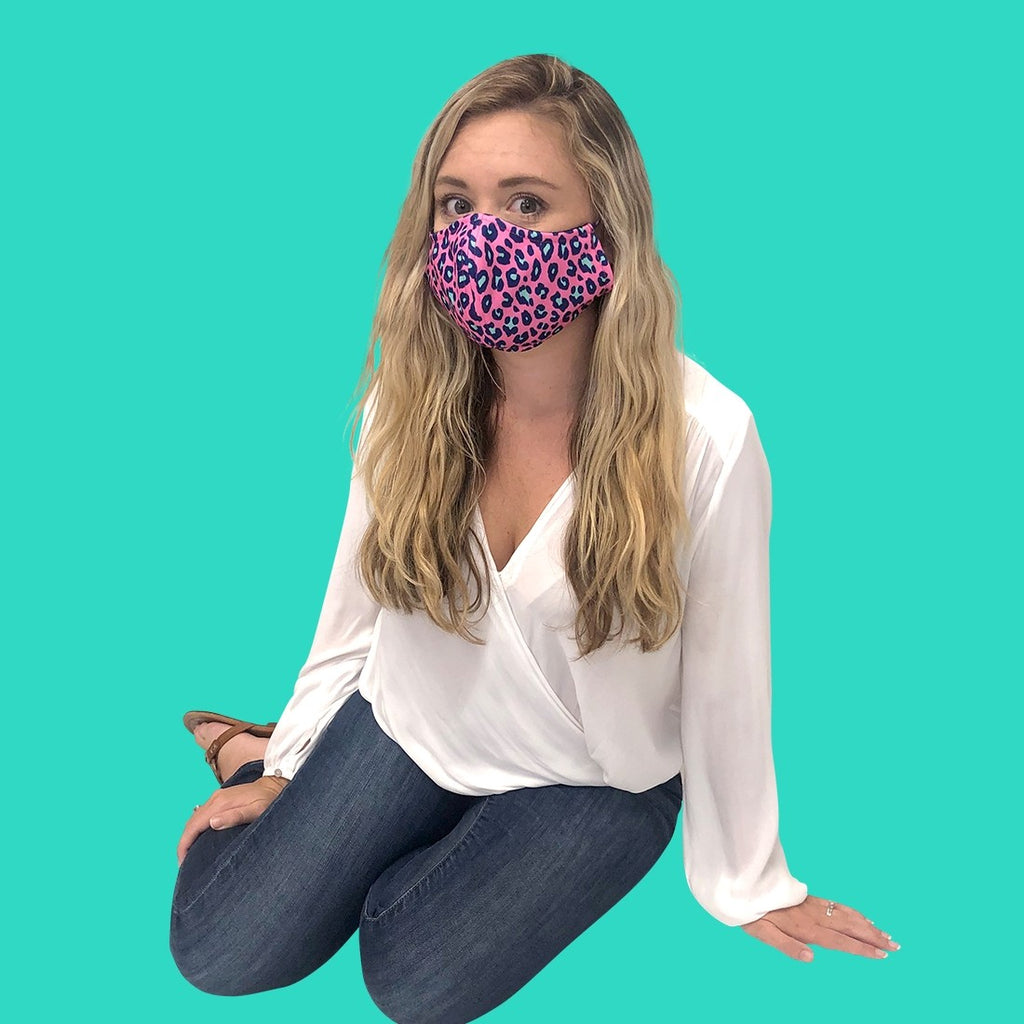 Hot Pink Leopard Face Mask - Adjustable