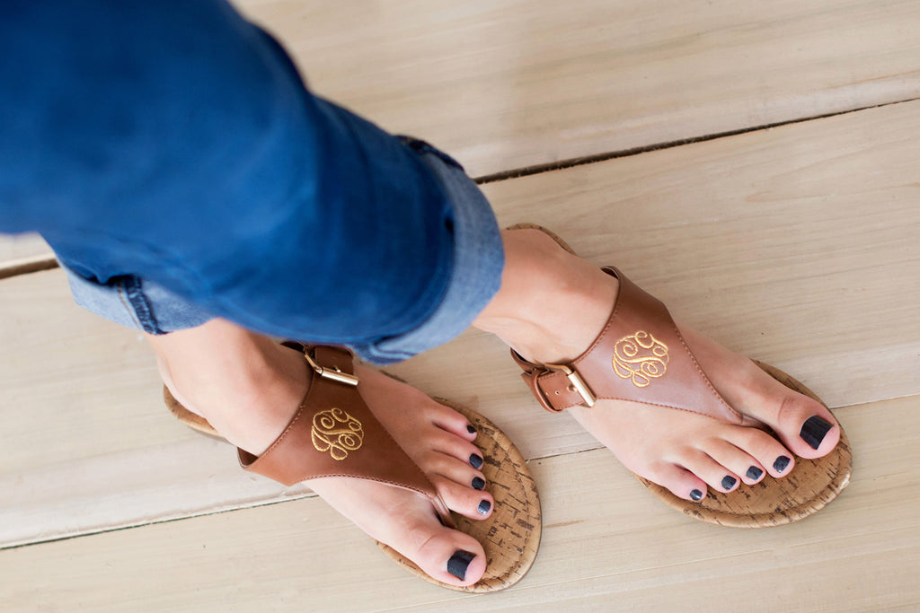Personalized Monogrammed Sandals Brown or Black Strap - Gifts Happen Here - 11
