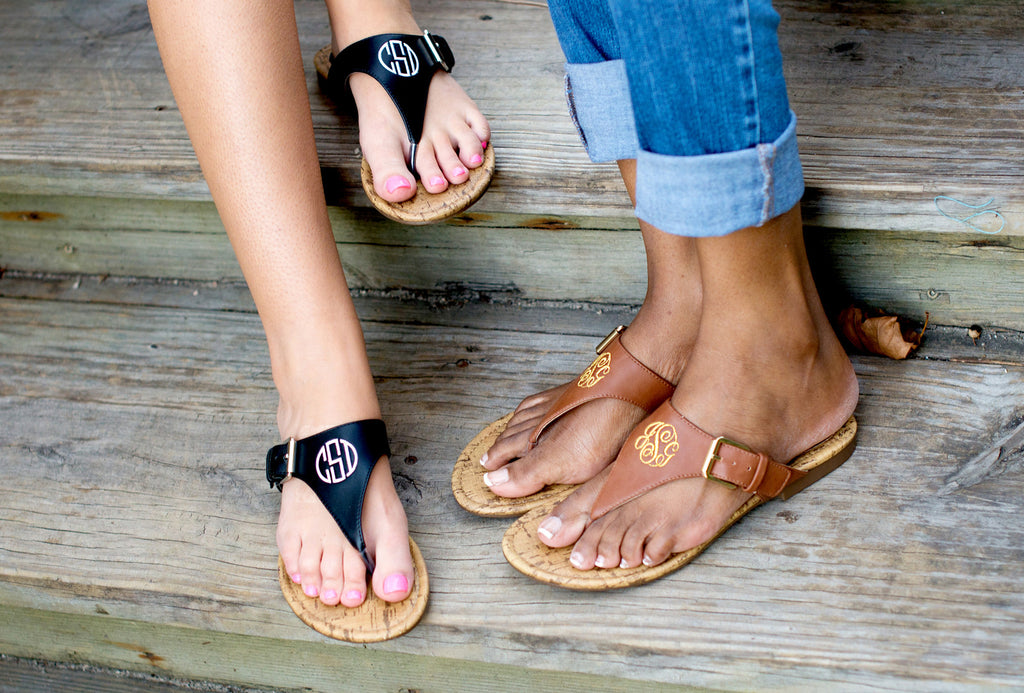 Personalized Monogrammed Sandals Brown or Black Strap - Gifts Happen Here - 7