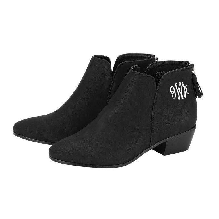 Monogrammed Black Boots Hudson Short Bootie - Vegan Suede Leather
