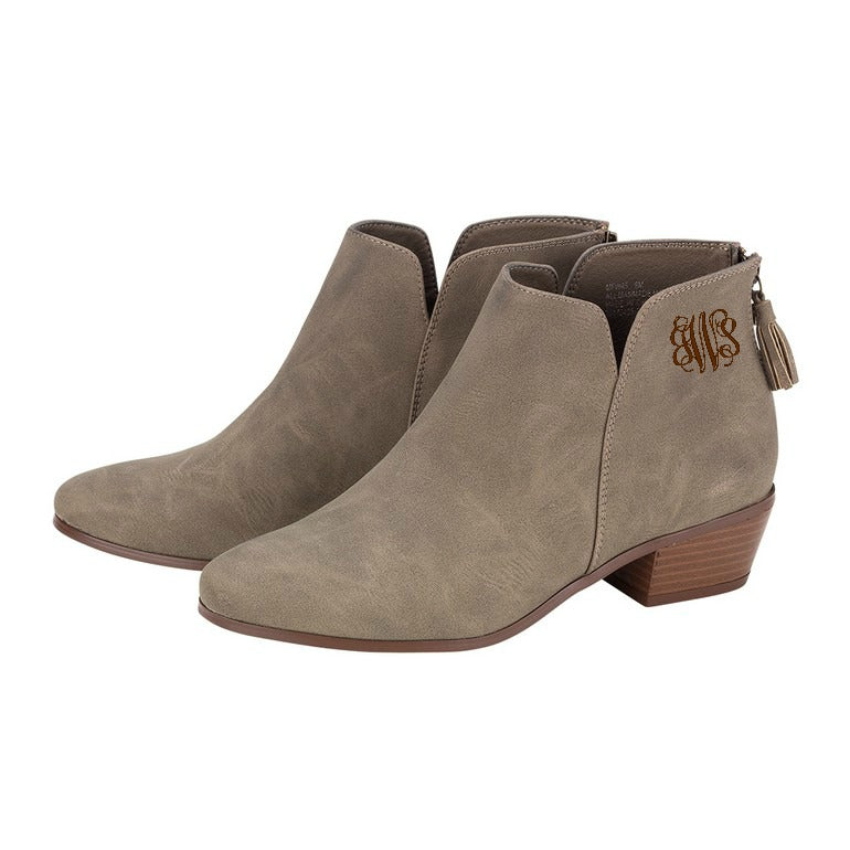 Monogrammed Boots Taupe Hudson Short Bootie - Vegan Suede Leather