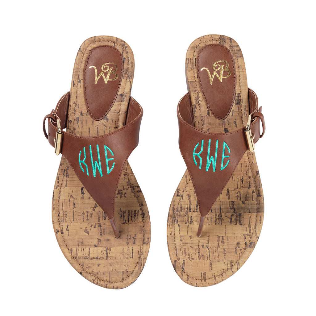 Personalized Monogrammed Sandals Brown or Black Strap - Gifts Happen Here - 8