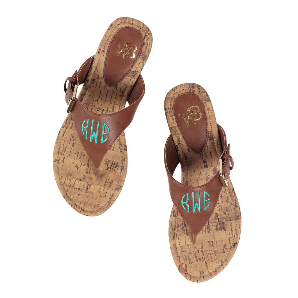 Personalized Monogrammed Sandals Brown or Black Strap - Gifts Happen Here - 4