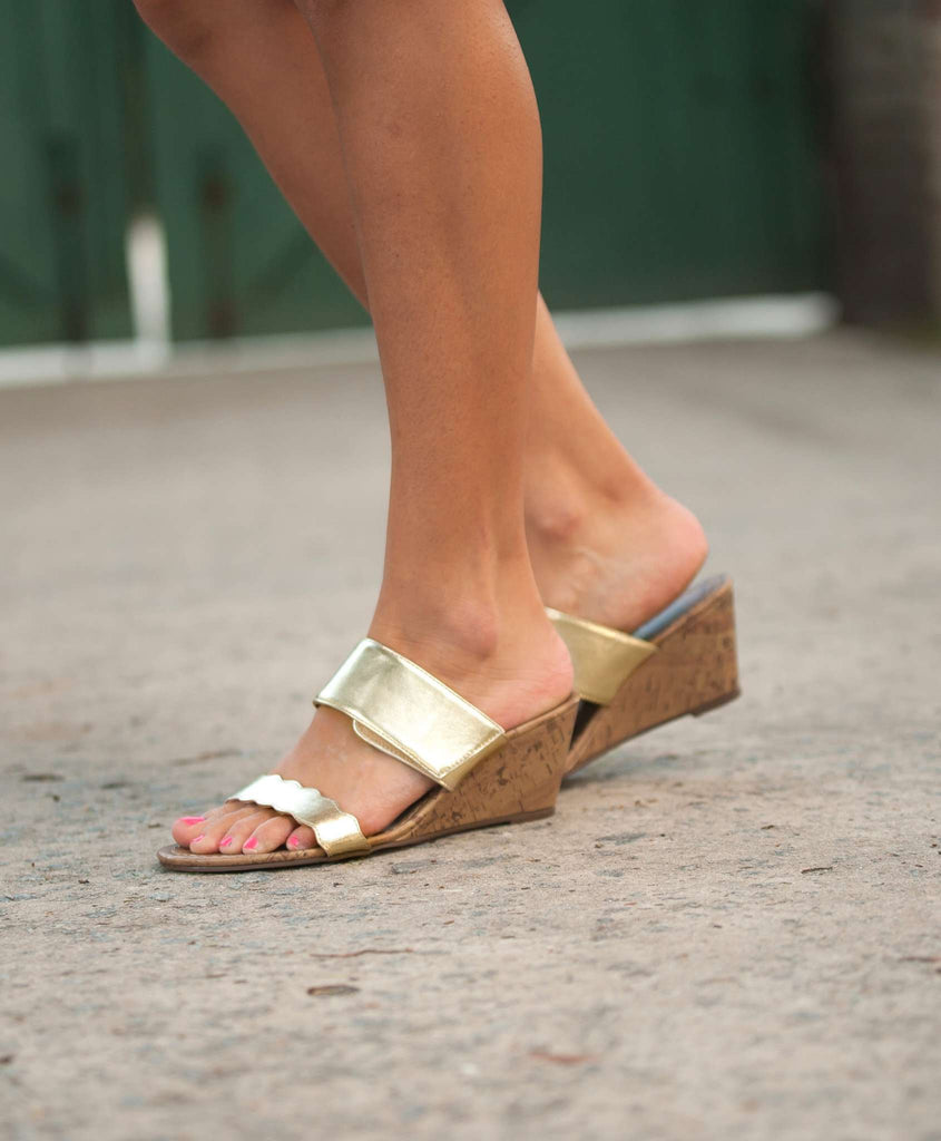 Monogrammed Sandals - Gold Wedges
