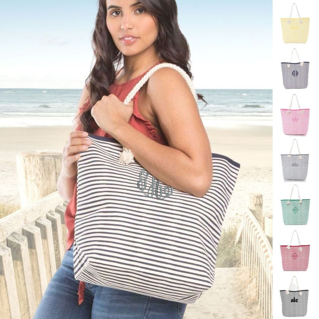 Personalized Large Beach Tote Bag with Stripes