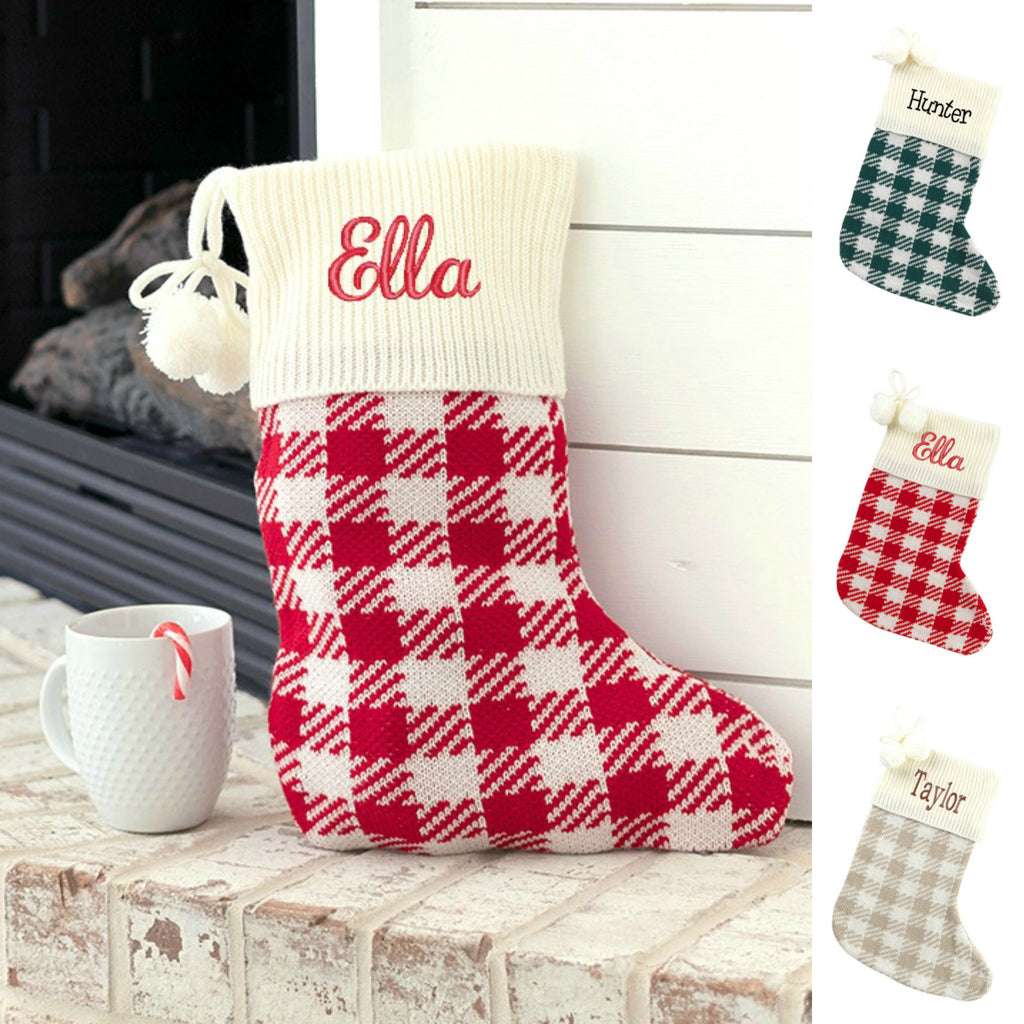 Personalized Christmas Stockings - Buffalo Check Plaid