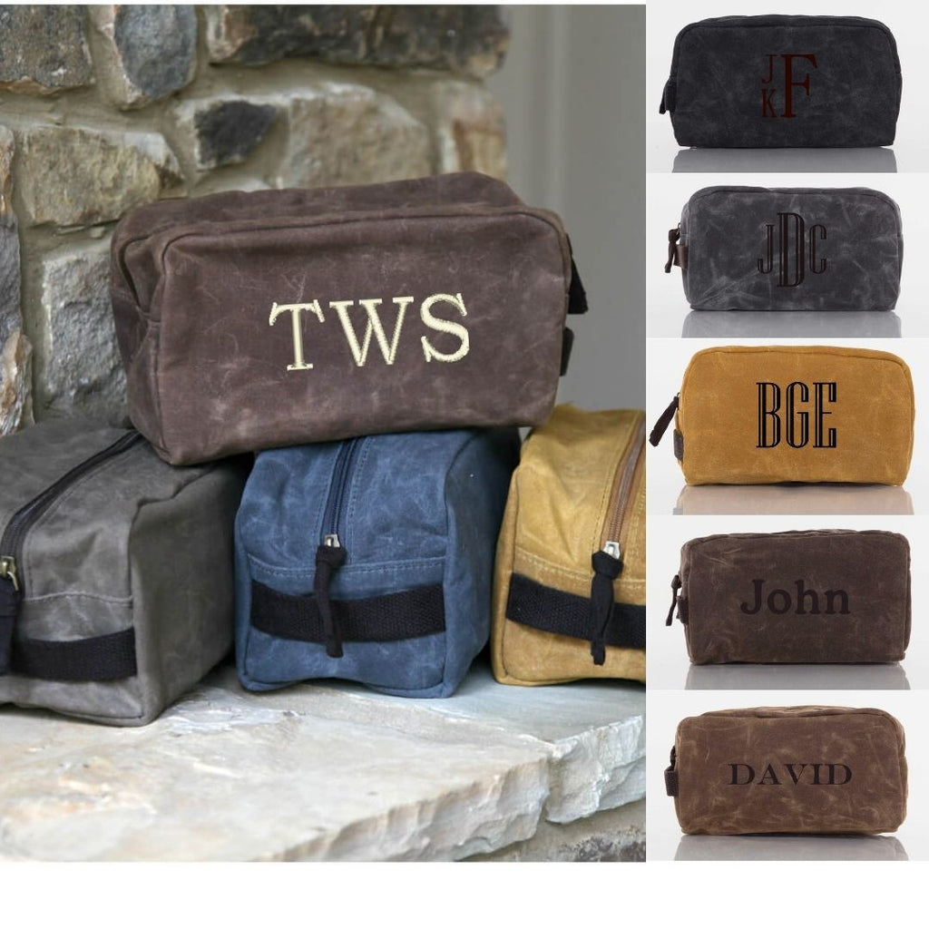 Personalized Waxed Canvas Dopp Kit - Plastic Lined