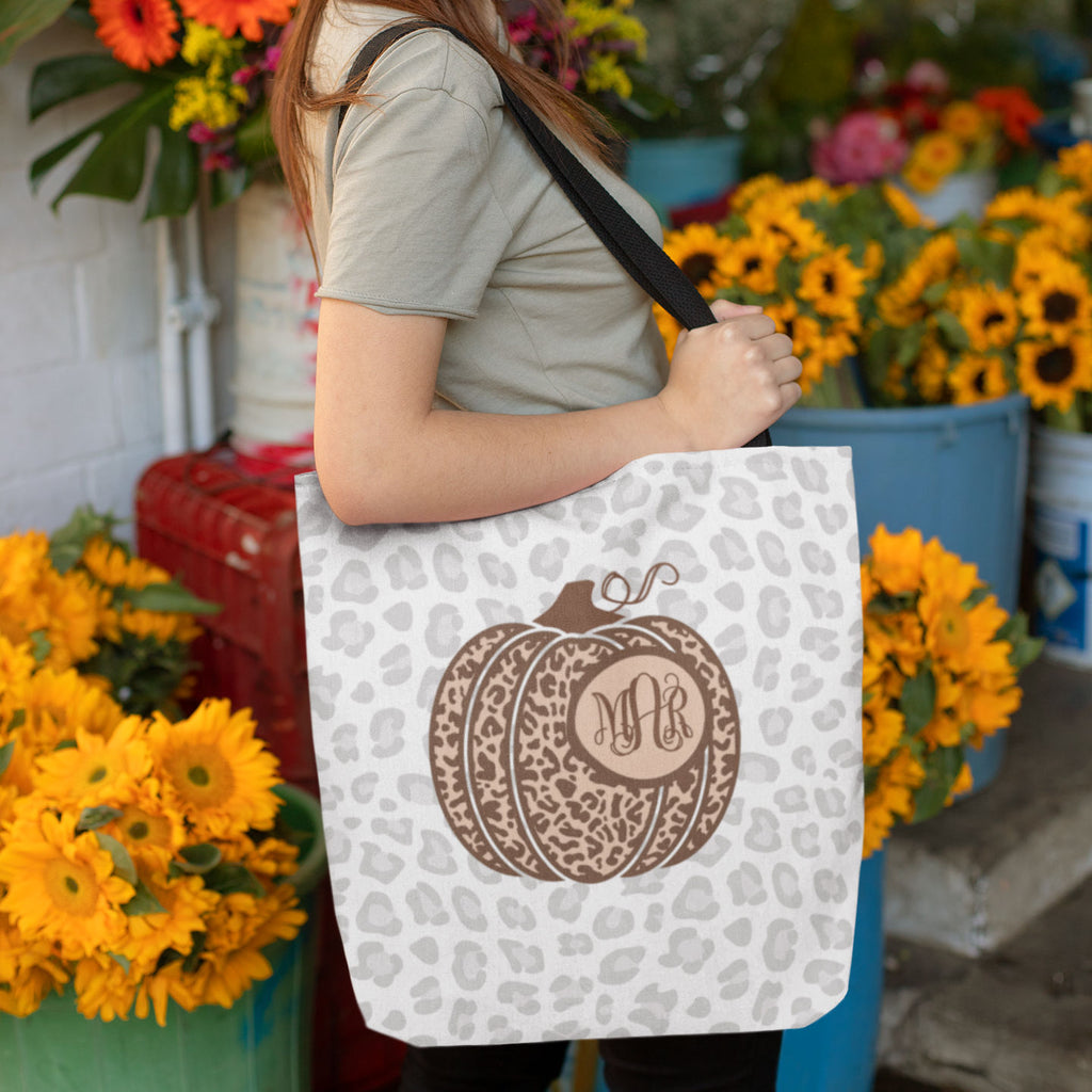 Monogrammed Leopard Pumpkin Fall Halloween Tote Bag