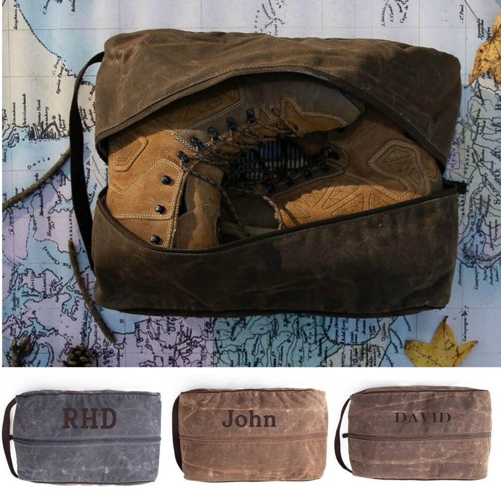 Personalized Mens Shoe Bag - Waxed Canvas
