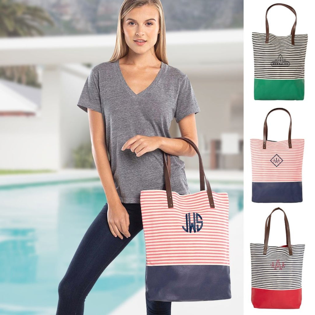 Personalized Striped Beach Bag