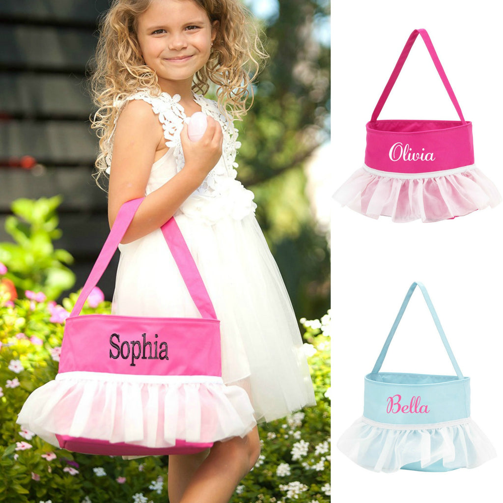 Monogrammed Tutu Easter Basket for Kids