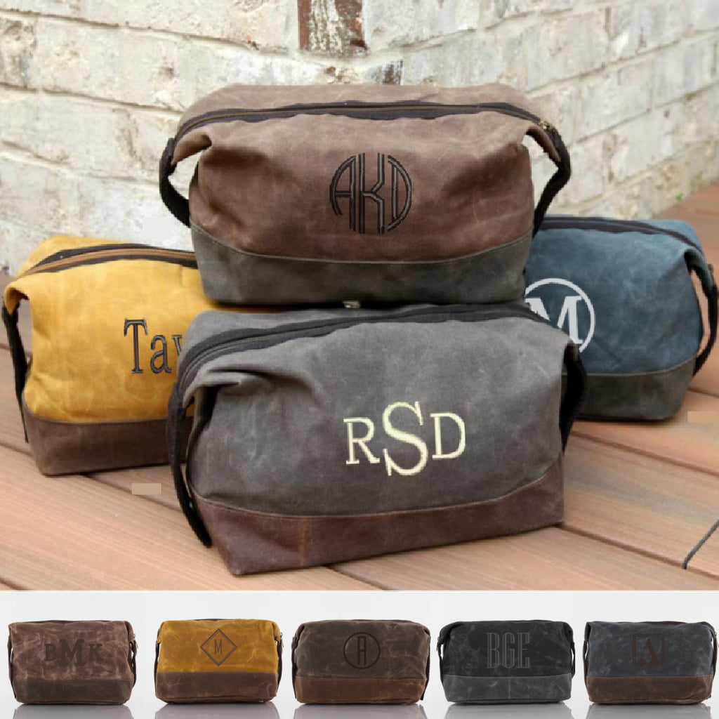 Personalized Waxed Canvas Top Zip Dopp Kit
