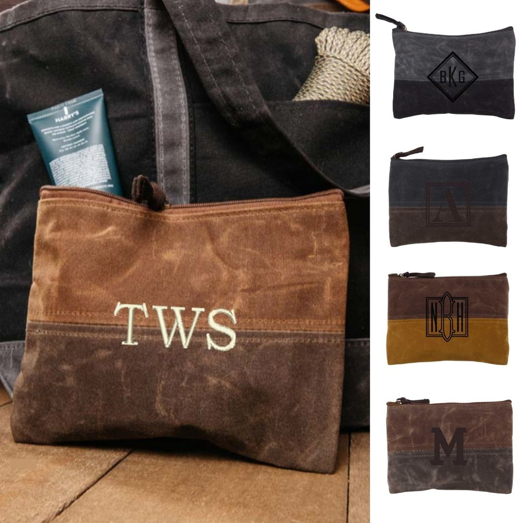 Personalized Waxed Canvas Zip Pouch - Toiletry Bag