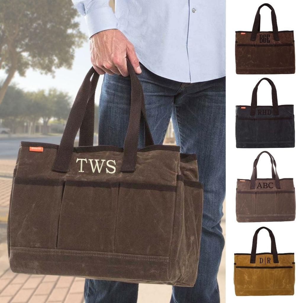 Personalized Organizing Tote Bag - Waxed Canvas Utility Tote