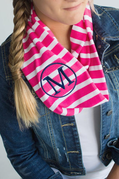 Personalized Kids Embroidered Monogram Infinity Scarf Striped