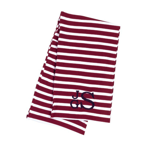 Personalized Embroidered Monogram Infinity Scarf Striped