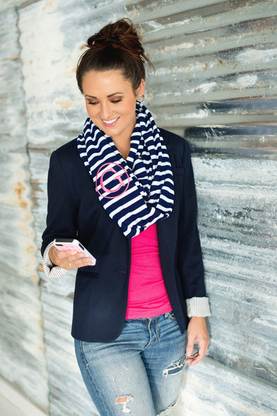 Personalized Embroidered Monogram Infinity Scarf Striped - Gifts Happen Here - 3