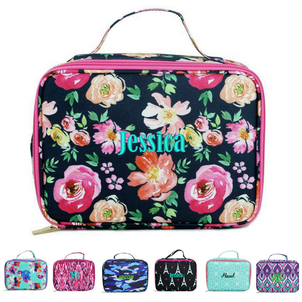 Personalized Kids Lunchbox Cute Patterns Floral Paisley Ikat Aztec Mint Pink Purple