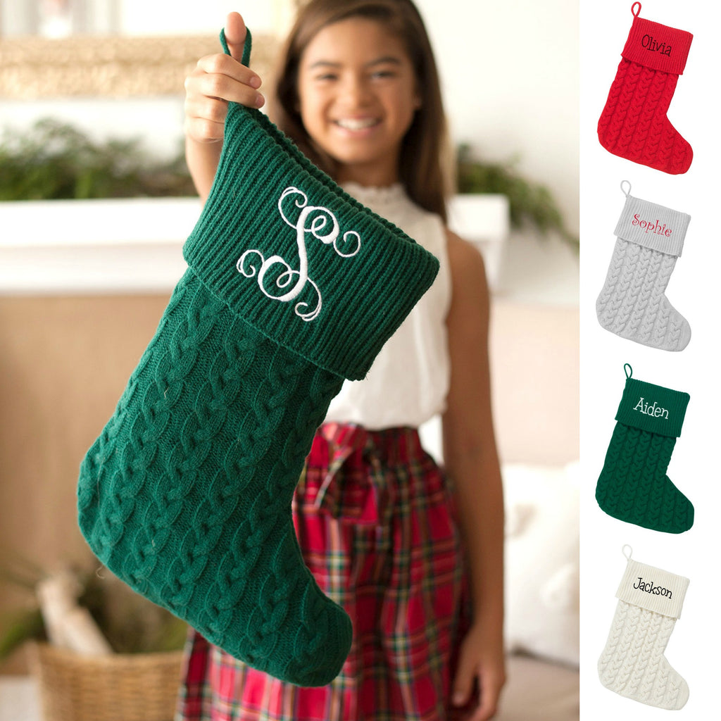 Personalized Cable Knit Stockings for Christmas