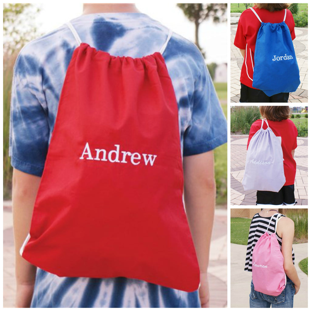 Personalized Embroidered Name Sports Pack - Drawstring Backpack - Valentine's Day Gift