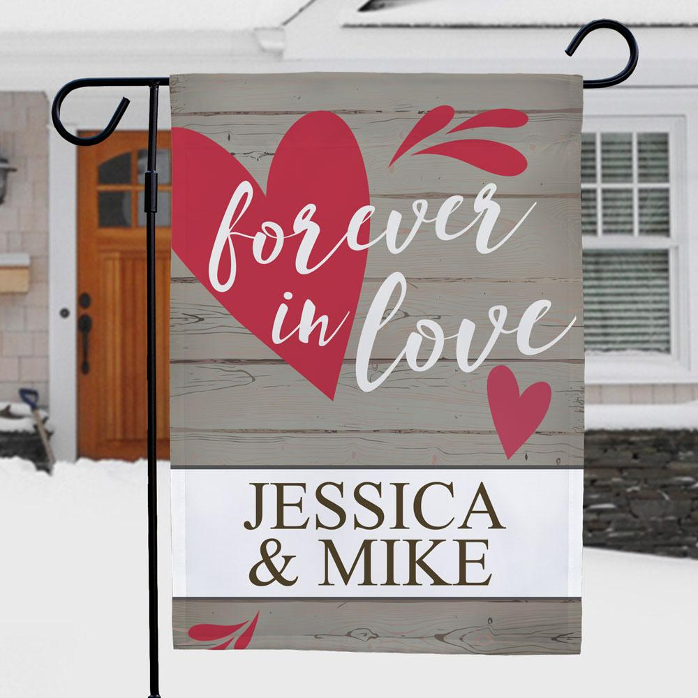 Personalized Forever In Love Garden Flag - Valentine's Day Gift