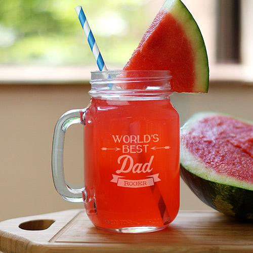 Personalized Engraved World's Best Dad Mason Jar