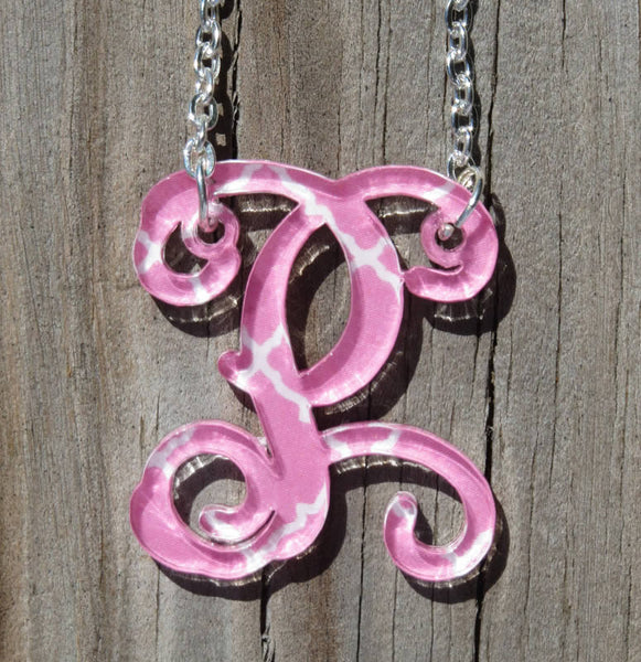 Personalized Floating Single Letter Vine Necklace