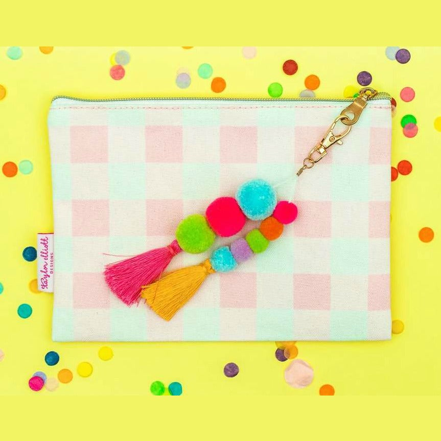 Pink Gingham Zip Pouch with Pom and Tassel Keychain