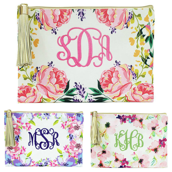 Personalized Floral Cosmetic Bag with Gold Tassel Pink Purple Coral
