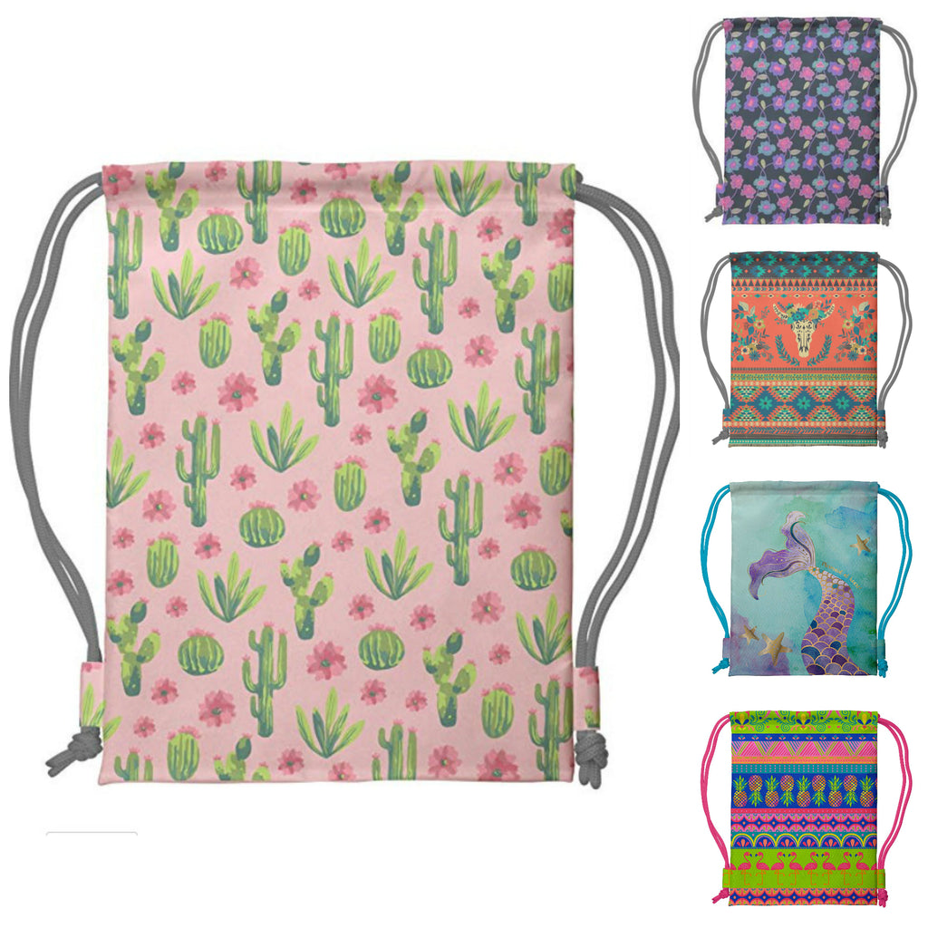 Printed Drawstring Backpacks