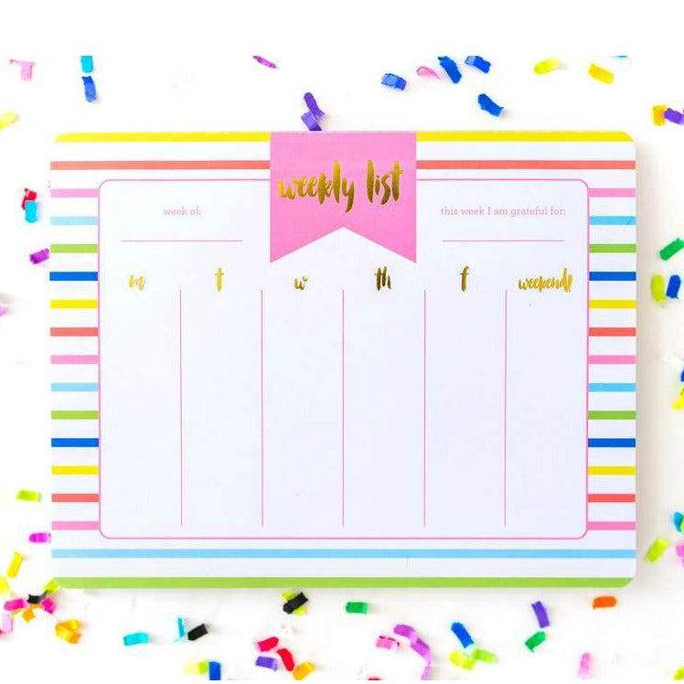 Striped Weekly Planner List Pad