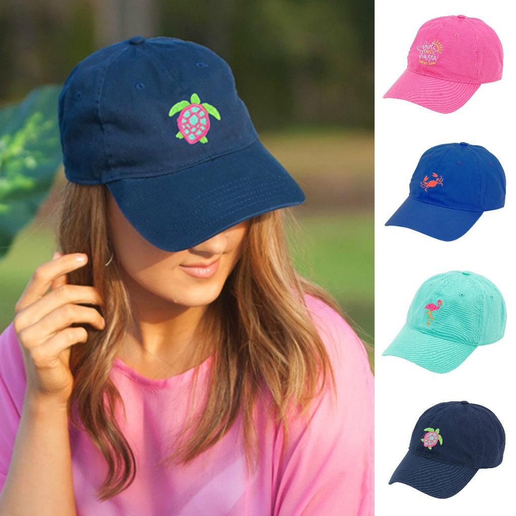Beach Hat - Embroidered Crab, Pineapple, Flamingo & Turtle Cap