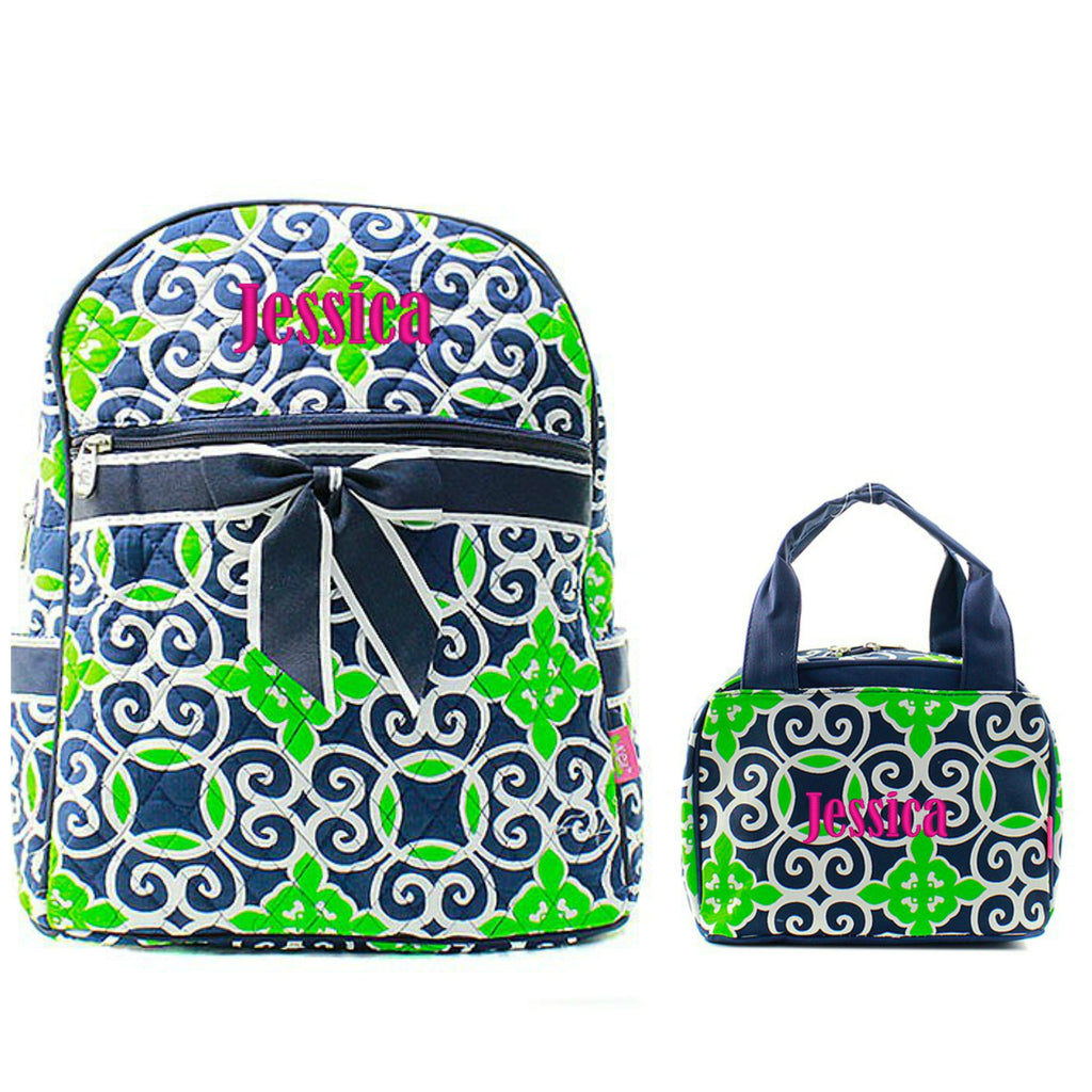 Personalized Matching Kids Quilted Backpack & Lunch Bag Set