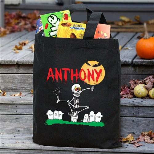Personalized Halloween Trick Or Treat Tote Bag for Kids - Black - Skeleton