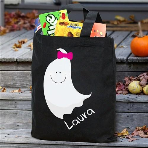Personalized Halloween Trick Or Treat Tote Bag for Kids - Black - Girl Ghost