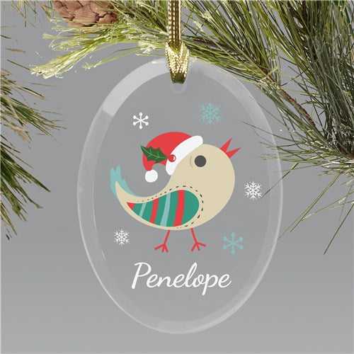 Personalized Christmas Bird Glass Ornament