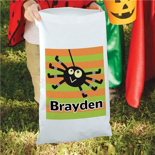 Personalized Halloween Large Candy Sack Tote for Kids - Trick Or Treat Bag - Boy Spider
