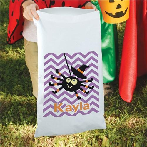 Personalized Halloween Large Candy Sack Tote for Kids - Trick Or Treat Bag - Girl Spider