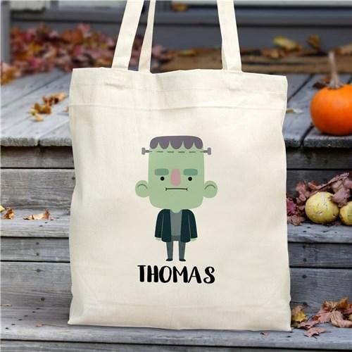 Personalized Halloween Characters Trick Or Treat Tote Bag - Frankenstein