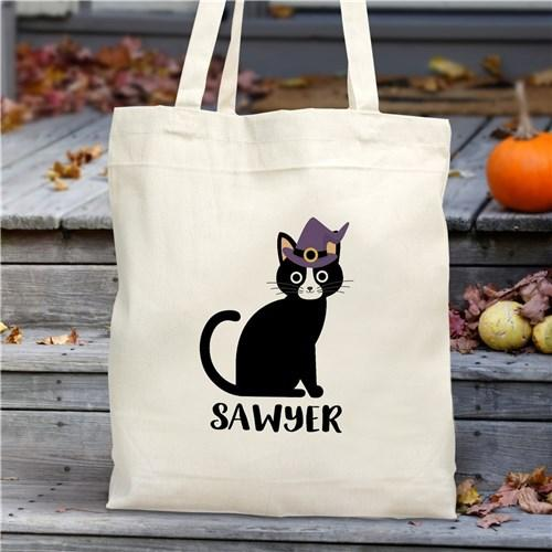 Personalized Halloween Characters Trick Or Treat Tote Bag - Black Cat