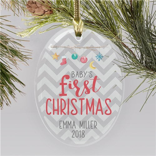 Personalized Baby 1st Christmas Glass Ornament