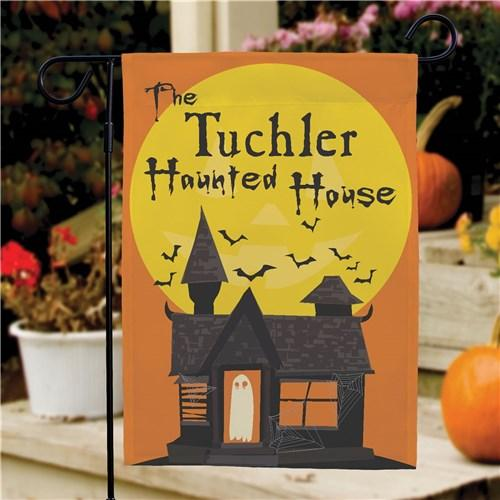 Personalized Halloween & Fall Garden Flags - Haunted House