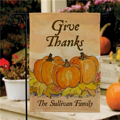 Personalized Halloween & Fall Garden Flags - Give Thanks