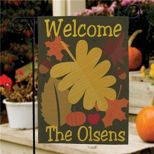 Personalized Halloween & Fall Garden Flags - Welcome Leaves