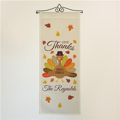 Personalized Halloween & Fall Wall Banners Signs - Give Thanks Turkey