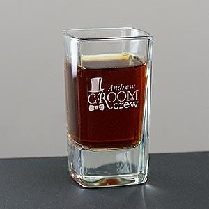 Personalized Engraved Groom Crew Square Shot Glass
