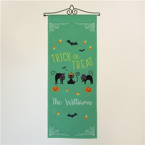Personalized Halloween & Fall Wall Banners Signs - Trick or Treat Black Cats