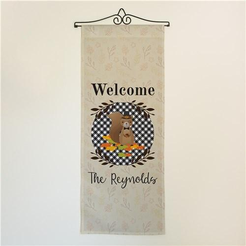 Personalized Halloween & Fall Wall Banners Signs - Welcome Squirrel